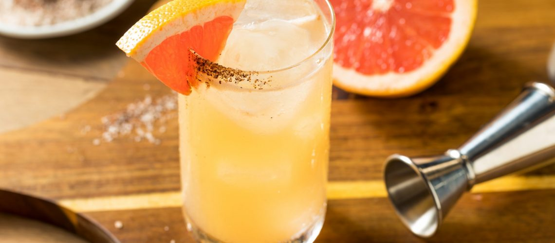 Refreshing Boozy Mezcal Spicy Paloma Cocktail with Grapefruit
